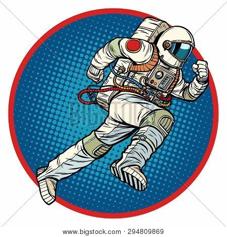 Astronaut Runs Forward Round Emblem. Pop Art Retro Vector Illustration Vintage Kitsch