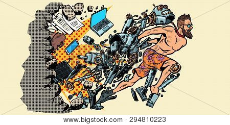 the robot turns into a human, artificial intelligence breaking the wall of stereotypes. New life. Computers and people. Pop art retro vector illustration vintage kitsch poster