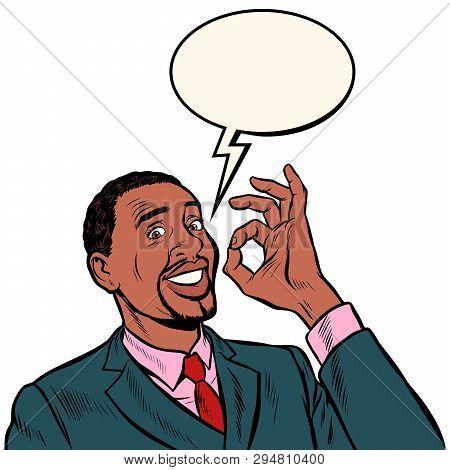 Ok African Man Businessman. Hand Gesture Okay. Success Good. Pop Art Retro Vector Illustration Vinta