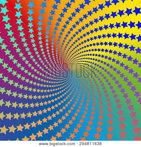 Star pattern spiral. Colorful, psychedelic, hypnotizing, trance-like, vibrant, energetic, vivid, intensive, circular fractal background illustration. poster