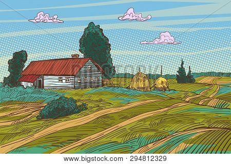 rural landscape autumn field village houses. Pop art retro vector illustration vintage kitsch 50s 60s poster