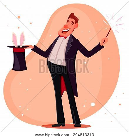 Illusionist Shows Magical Tricks With Magic Wand And Cylinder. Magician Cartoon Character. Vector Il