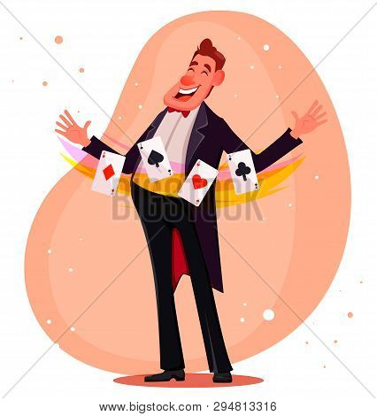 Illusionist Shows Magical Trick With Cards. Magician Cartoon Character. Vector Illustration.