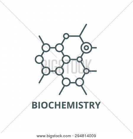 Biochemistry Line Icon, Vector. Biochemistry Outline Sign, Concept Symbol, Flat Illustration