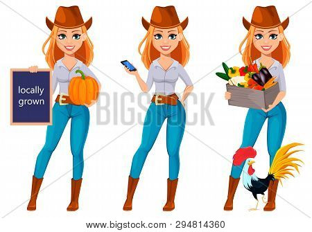 Young Pretty Farmer Woman In Cowboy Hat. Cheerful Gardener Woman Cartoon Character Holding Pumpkin,