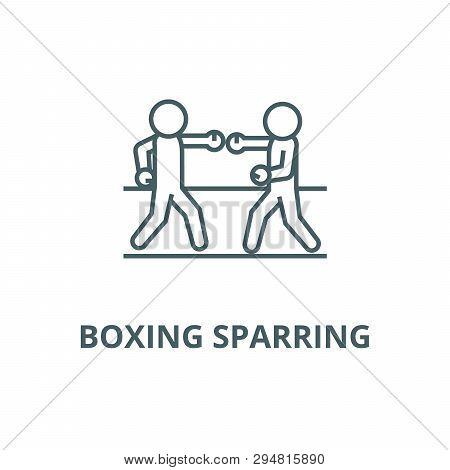 Boxing Sparring Line Icon, Vector. Boxing Sparring Outline Sign, Concept Symbol, Flat Illustration