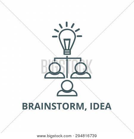 Brainstorm, Idea  Line Icon, Vector. Brainstorm, Idea  Outline Sign, Concept Symbol, Flat Illustrati