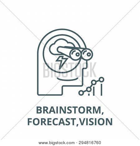 Brainstorm, Forecast, Vision Line Icon, Vector. Brainstorm, Forecast, Vision Outline Sign, Concept S