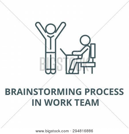 Brainstorming Process In Work Team Line Icon, Vector. Brainstorming Process In Work Team Outline Sig