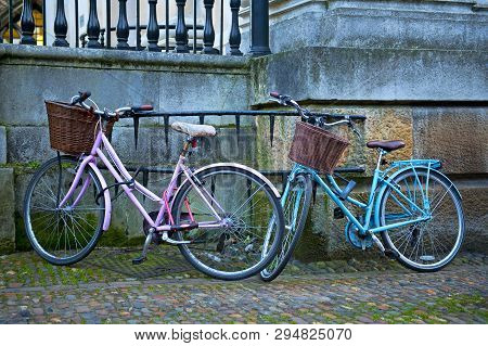 Pink And Blue Bicycles In Cambridge, England