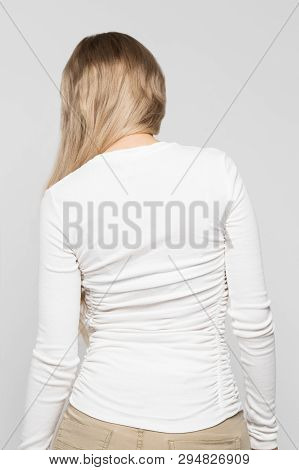 Close Up Portrait Of Young Caucasian Female  In White Top With Scoliosis, Back View/rachiocampsis/ky