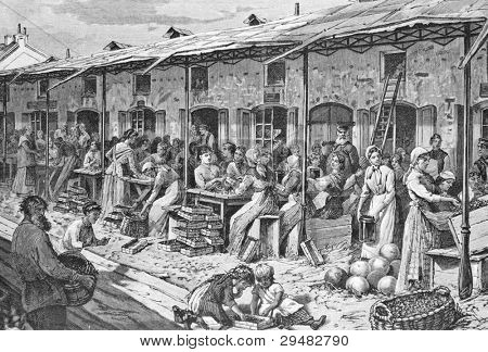 Bazaar in St. Petersburg. Engraving by Helmitsky from picture by painter Brolling. Published in magazine