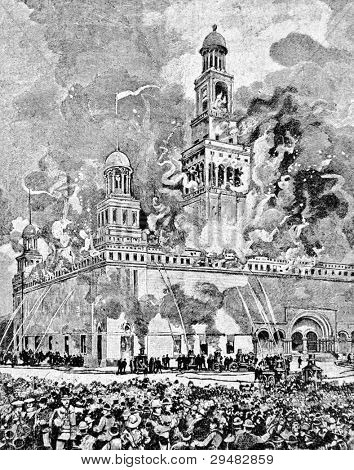 Fire on the Colombian Exhibition in Chicago. Engraving by Kroys. Published in magazine