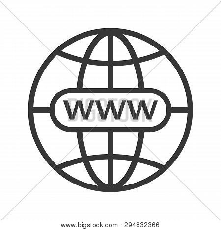 Www Icon. Web Site Icon. Www Icon With Hand Cursor In Flat Styleinternet Http Address Icon Isolated.