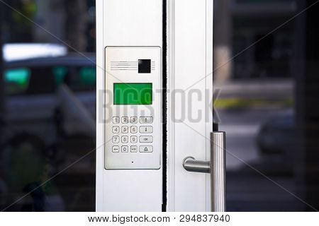 Secure Password On Keyboard For Opening Home House Door. Password Code Security Keypad System Protec
