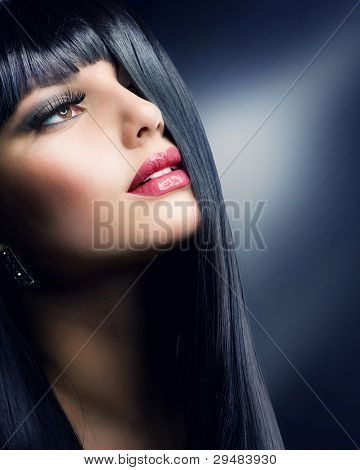 Fashion Brunette . Beautiful Makeup and Healthy Black Hair poster