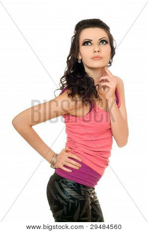 Portrait Of Beautiful Young Brunette. Isolated