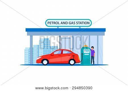 Red Car On Petrol And Gas Station. Refill Customer Automotive Service In Urban Roadside. Man Refueli