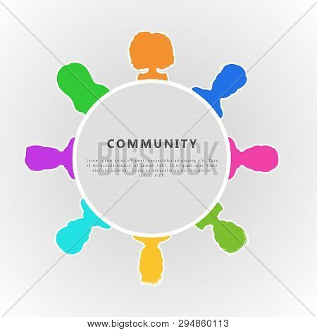 Social Community Infographic Concept. Flat Horizontal Banner Design For Group Of Businessman, Social