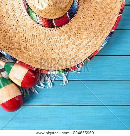 Cinco De Mayo Mexican Background Border Sombrero