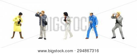 Miniature Figurine Character As Photographer Standing And Working In Posture Isolated On White Backg