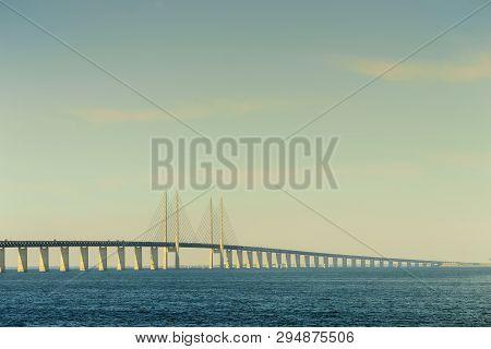 Oresundsbron. The Oresund Bridge Link Between Denmark And Sweden Europe, Baltic Sea. Landmark And Tr