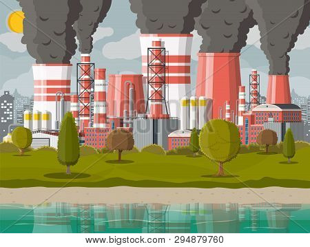 Plant Smoking Pipes. Smog In City. Trash Emission From Factory. Grey Sky Polluted Trees Grass. Citys