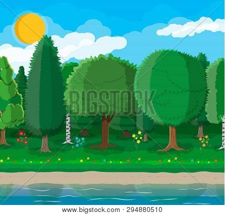 City Park Concept, Water Reservoir And Trees. Flowers, Pond Or River. Deep Forest. Sky With Clouds A