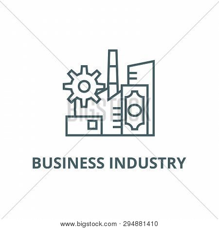Business Industry Line Icon, Vector. Business Industry Outline Sign, Concept Symbol, Flat Illustrati