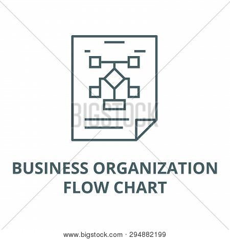 Business Organization, Flow Chart Line Icon, Vector. Business Organization, Flow Chart Outline Sign,