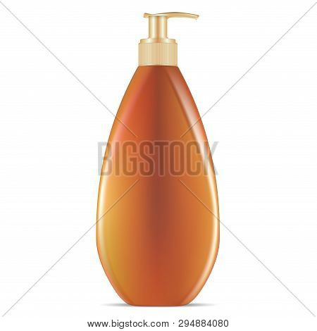 Sunblock Cosmetic Pump Dispenser Bottle. Vector Jar For Bronze Tanning Spf And Uva Sunscreen Protect