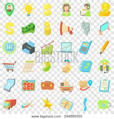 Business Seo Icons Set. Cartoon Style Of 36 Business Seo Vector Icons For Web For Any Design