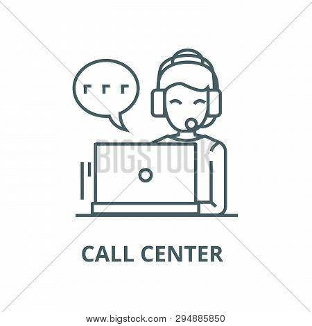 Call Center, Woman With Headset  Line Icon, Vector. Call Center, Woman With Headset  Outline Sign, C