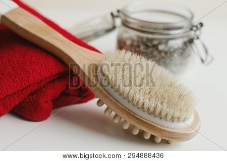 Wooden Brush For Body Massage, Red Cotton Towel And Scrub For Skin Exfoliating In A Jar. Body Care A