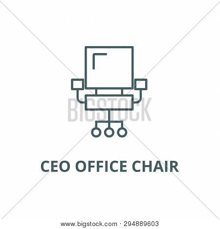 Ceo Office Chair Line Icon, Vector. Ceo Office Chair Outline Sign, Concept Symbol, Flat Illustration
