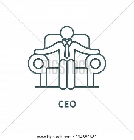 Ceo Line Icon, Vector. Ceo Outline Sign, Concept Symbol, Flat Illustration