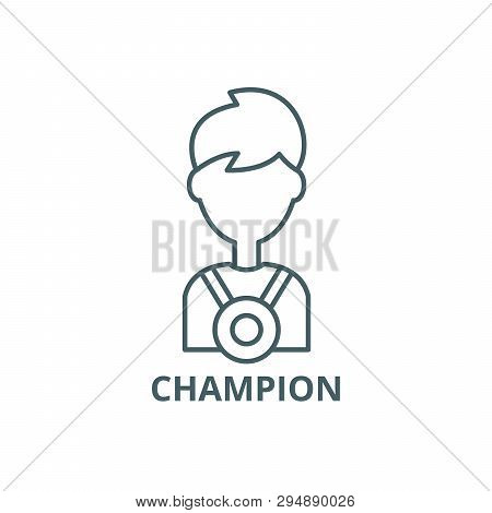 Champion Line Icon, Vector. Champion Outline Sign, Concept Symbol, Flat Illustration