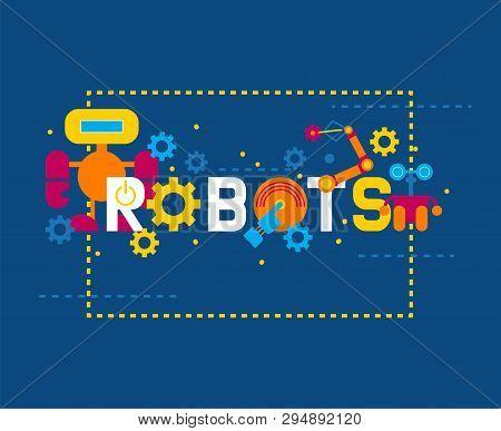 Robotics Creation Icons Banner Vector Illustration. Celebration. Futuristic Artificial Intelligence