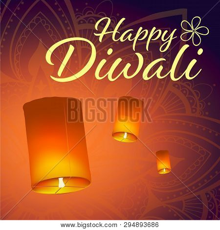 Post Card For Diwali Festival With Realistic Sky Lanterns And Mandala. Happy Diwali Concept, Insigni