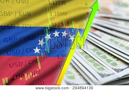 Venezuela Flag And Chart Growing Us Dollar Position With A Fan Of Dollar Bills