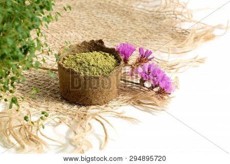 Henna Powder For Dyeing Hair And Eyebrows And Drawing Mehendi On Hands,  With Green  Leafs And Pink