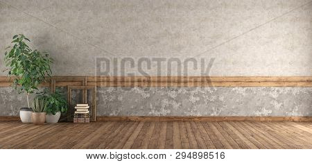 Empty Room With Hardwood Floor , Old Wall And Plants - 3d Rendering
