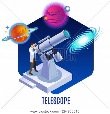 Astrophysics Isometric Background Composition With Astronomer Observing Colorful Planets Galaxy Cele