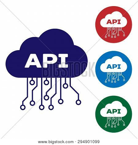 Blue Cloud Api Interface Icon Isolated On White Background. Application Programming Interface Api Te