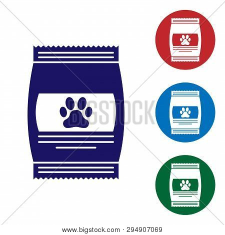 Blue Bag Of Food For Pet Icon Isolated On White Background. Food For Animals. Pet Food Package. Dog