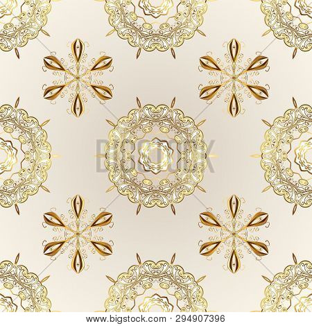 Beige And Neutral Colors With Golden Elements. Seamless Golden Pattern. Gold Metal With Floral Patte
