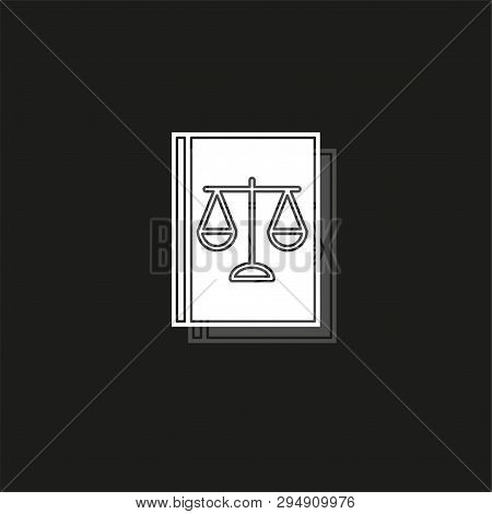 law book icon - judge icon - legal sign - judgment illustration. White flat pictogram on black - simple icon poster