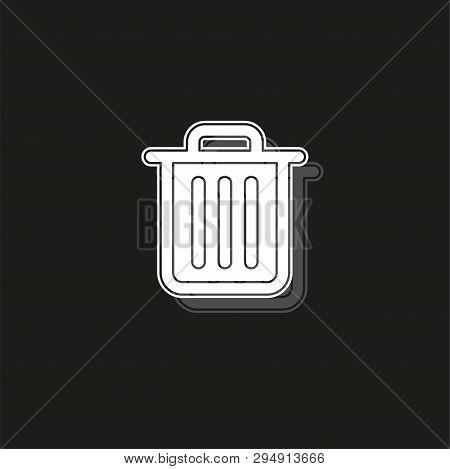 Trashcan Icon, Vector Trash Bin - Basket Illustration - Garbage Basket Symbol. White Flat Pictogram