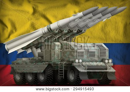 Tactical Short Range Ballistic Missile With Arctic Camouflage On The Colombia Flag Background. 3d Il