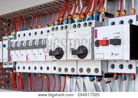 The Electrical Control Panel Are Circuit Breakers Protecting The Motor And Relay. Circuit Breakers W